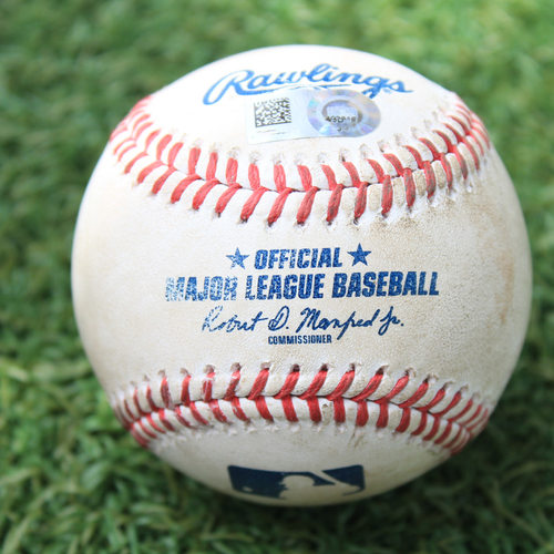Photo of Game-Used Baseball: Eddie Rosario 695th Career Hit (MIN @ KC 8/9/20)