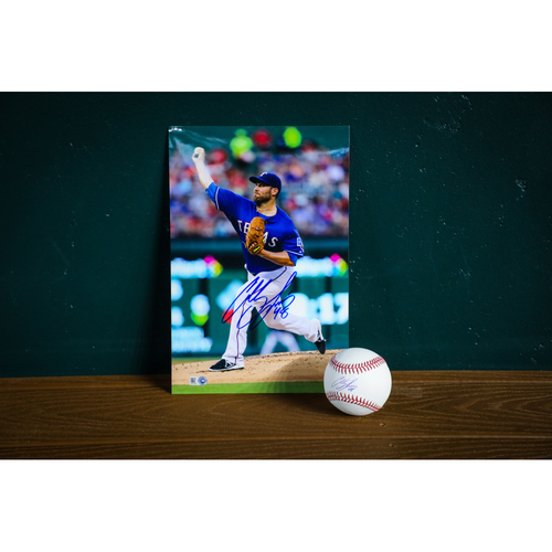 Photo of Colby Lewis Autographed Baseball and 8x12 Photo