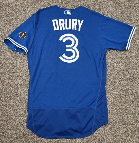 Photo of Authenticated Team Issued Jersey: #3 Brandon Drury (2020 Season). Set 1. Size 44.