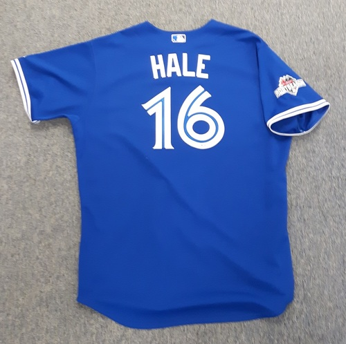 Photo of Authenticated Game Used Postseason Jersey - #16 DeMarlo Hale (October 14, 2015: ALDS Game 5). Size 54.