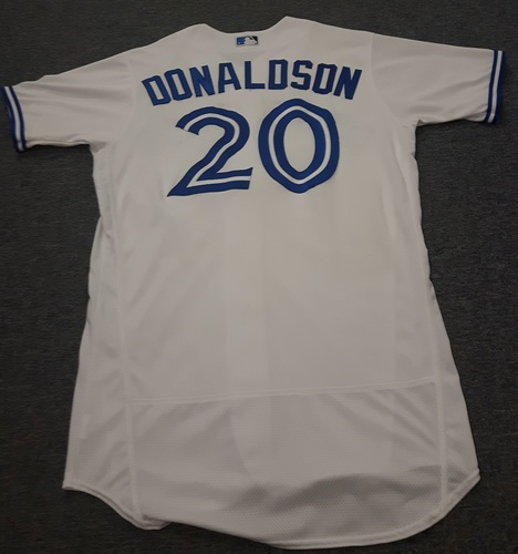 Photo of Authenticated Game Used Jersey - #20 Josh Donaldson (July 28, 2017: 0-for-3 with 1 Walk. August 8, 2017: 3-for-4 with 2 HRs and 4 RBIs). Size 44.