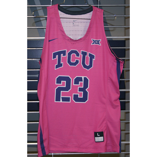 Photo of Women's Basketball Pink Game Worn Nike® Jersey #23 (L)