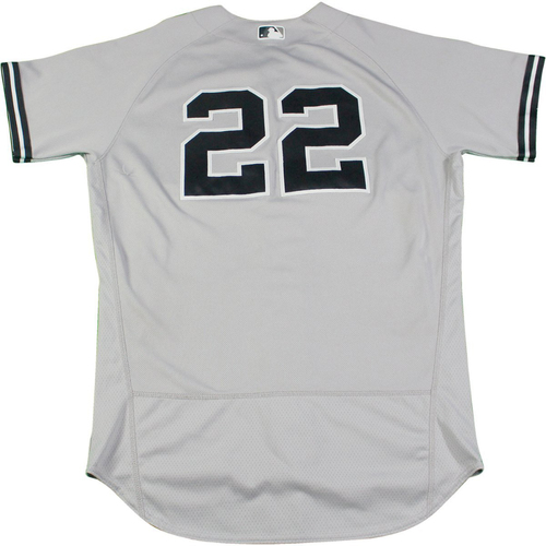 Photo of Jacoby Ellsbury New York Yankees Game-Used #22 Grey Jersey (8/24/2017). Jersey Size - 44