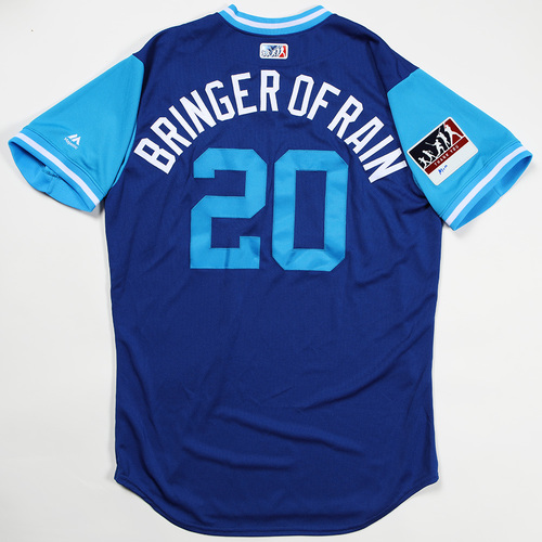 "Photo of Josh ""Bringer of Rain"" Donaldson Toronto Blue Jays Team Issued Jersey 2018 Players' Weekend Jersey"