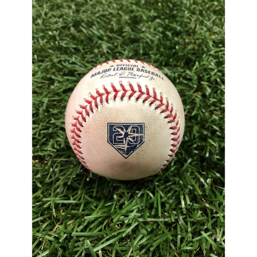 Photo of 20th Anniversary Game-Used Baseball: Masahiro Tanaka strikes out Tommy Pham and ball in dirt to C.J. Cron - September 26, 2018 v NYY