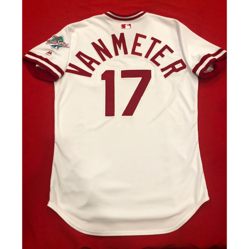 Photo of Josh VanMeter -- Game-Used 1990 Throwback Jersey (Starting 1B) -- Cardinals vs. Reds on Aug. 18, 2019 -- Jersey Size 44