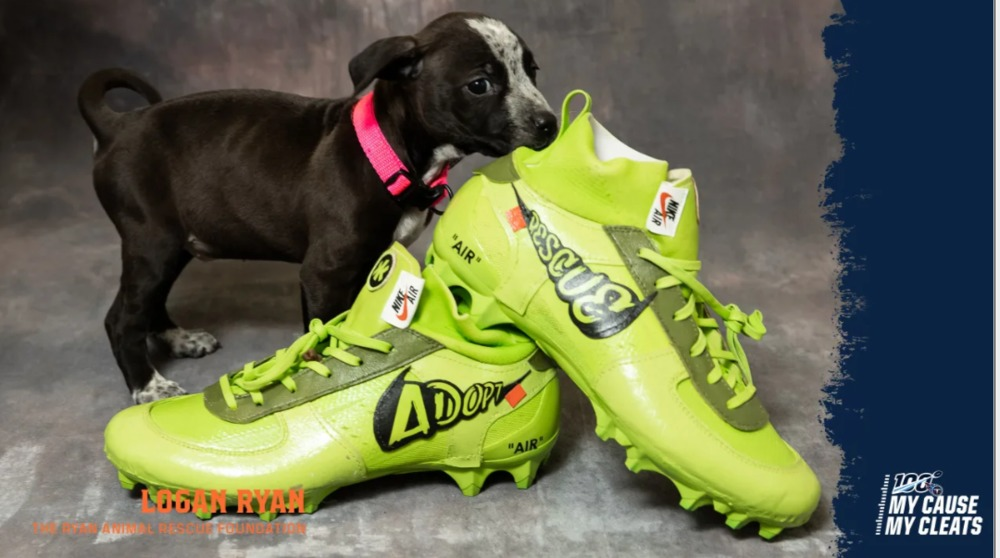 My Cause My Cleats -  Titans Logan Ryan custom cleats - supporting  The Ryan Animal Rescue Foundation