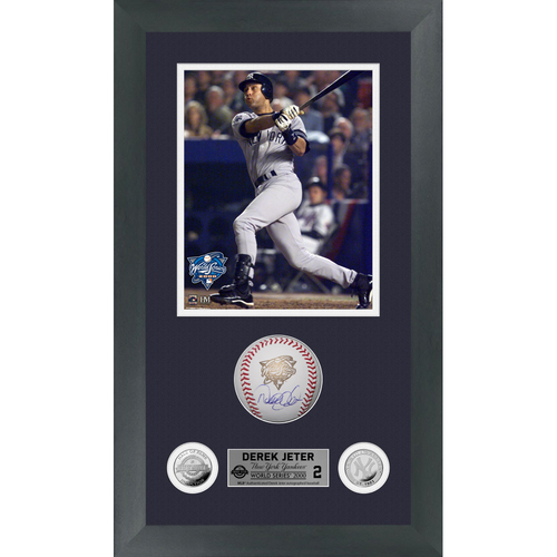 Photo of Derek Jeter Autographed 2000 World Series Logo Baseball Shadow Box Frame