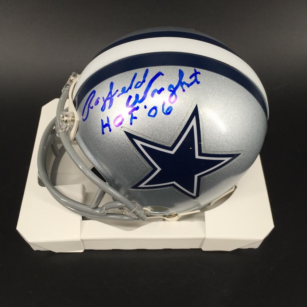 HOF - Cowboys Rayfield Wright Signed Mini Helmet