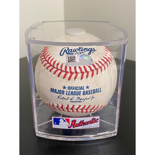Photo of Game Used Baseball: Pitcher: Kyle Gibson, Batter: Manny Machado - Double - Bot 3 - 8-20-2020 vs. TEX