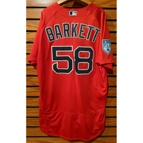 Photo of Coach Andy Barkett #58 2019 Spring Training Team Issued Red Jersey