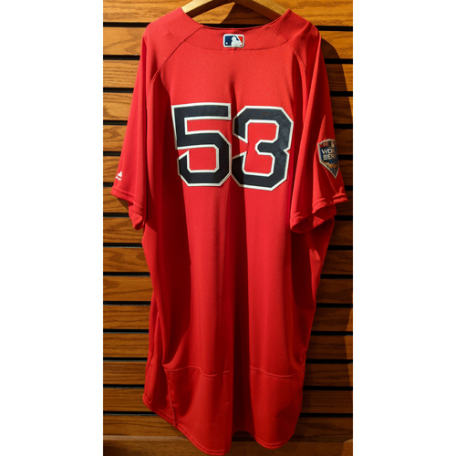 Photo of 2018 World Series Coach Craig Bjornson #53 Team Issued Red Home Alternate Jersey
