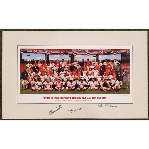 "Photo of 3-Signature Reds Hall of Fame Inductee Purdom Matted Print - 17.5""x29"""