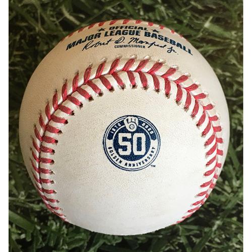Photo of Game-Used Baseball MIN@MIL 08/12/20 - Kenta Maeda - Eric Sogard: Groundout