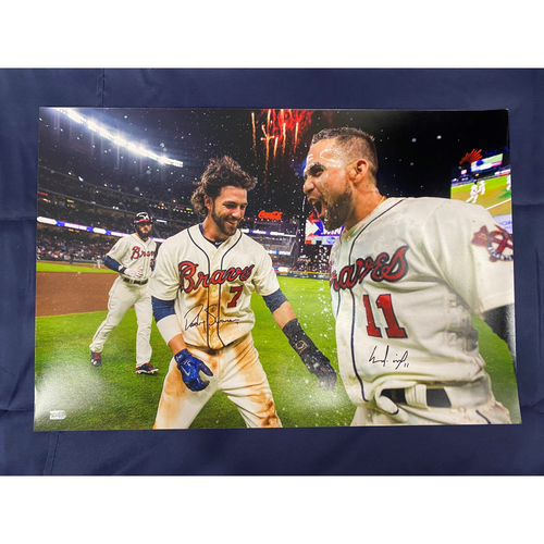 Dansby Swanson and Ender Inciarte Autographed Celebration Photo