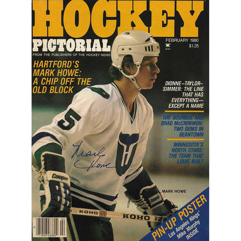 Mark Howe Autographed Hockey Pictorial Magazine - February 1980