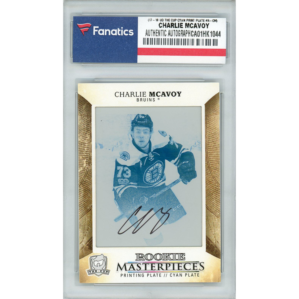 Charlie McAvoy Boston Bruins Autographed 2017-18 Upper Deck The Cup Rookie Masterpieces #BLACK-R-CM Cyan Printing Plate Card - LE of 1