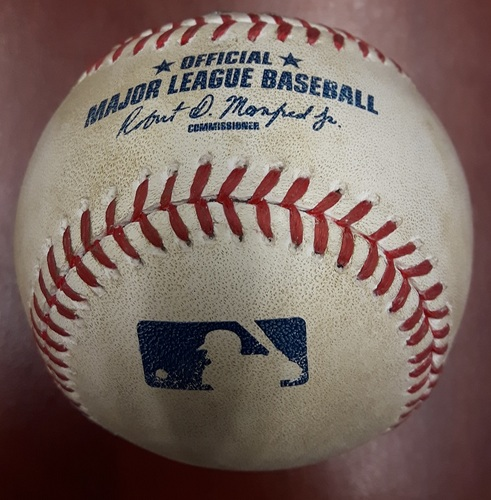 Photo of Authenticated Player Collected Baseball - Josh Donaldson MVP Season Home Run (August 3rd, 2015; Also David Price's 1st start as a Blue Jay)
