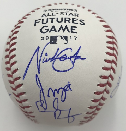 Photo of 2017 Futures Participants Dual Signed 2017 Futures Game Logo Baseball Option #4