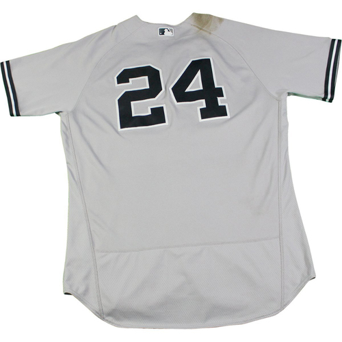 Photo of Gary Sanchez New York Yankees Game-Used #24 Grey Jersey (8/24/2017). Jersey Size - 48