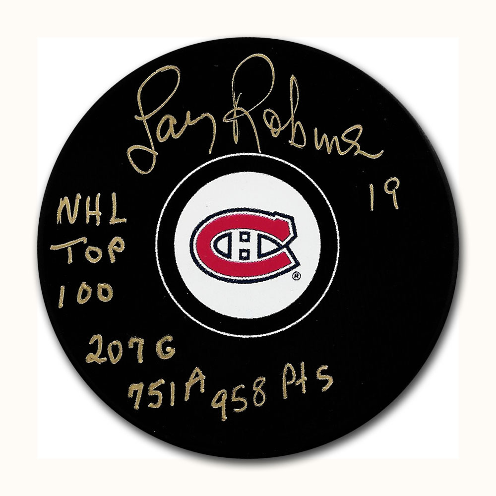 Larry Robinson Autographed Montreal Canadiens Puck w/NHL TOP 100 & CAREER POINTS Inscription