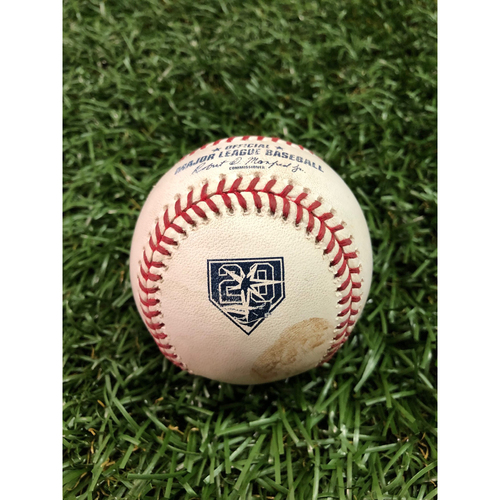 Photo of 20th Anniversary Game-Used Baseball: Andrew McCutchen single off Sergio Romo - September 26, 2018 v NYY