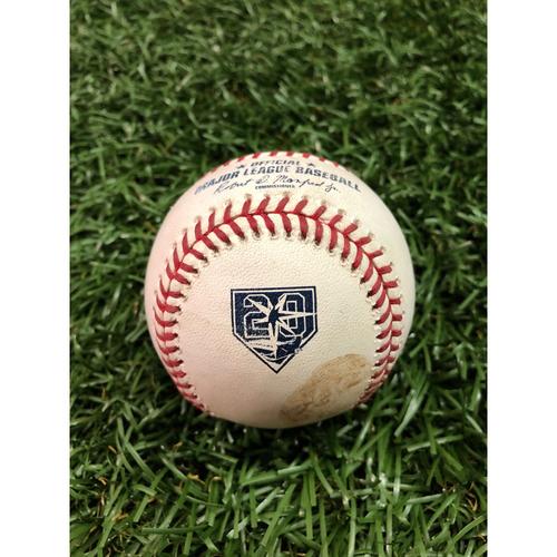 20th Anniversary Game-Used Baseball: Andrew McCutchen single off Sergio Romo - September 26, 2018 v NYY