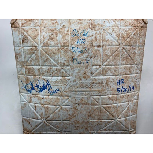 Photo of Autographed Game-Used Base: Consecutive Home Runs by Alex Avila, Miguel Cabrera and JD Martinez