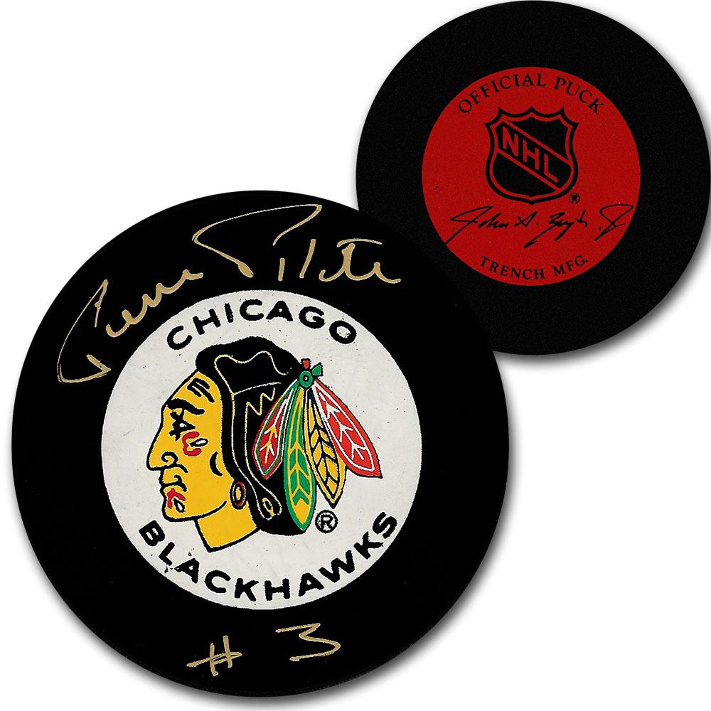 Pierre Pilote (deceased) Autographed Chicago Blackhawks Vintage Trench Puck