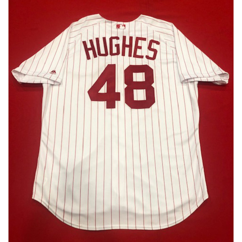 Photo of Jared Hughes -- 1967 Throwback Jersey -- Game-Used for Rockies vs. Reds on July 28, 2019 -- Jersey Size: 52