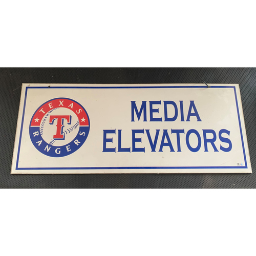 Photo of Media Elevator Sign Displayed at Entrance to Media Elevator on Clubhouse Level at Globe Life Park