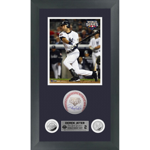Photo of Derek Jeter Autographed 2009 World Series Logo Baseball Shadow Box Frame