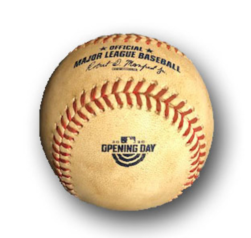 Photo of Game-Used Baseball -- Brandon Woodruff to Kyle Schwarber, Single, Bot 2, 98.4 MPH Two-Seam Fastball -- Opening Day 2020 -- Brewers vs. Cubs -- 7/24/20