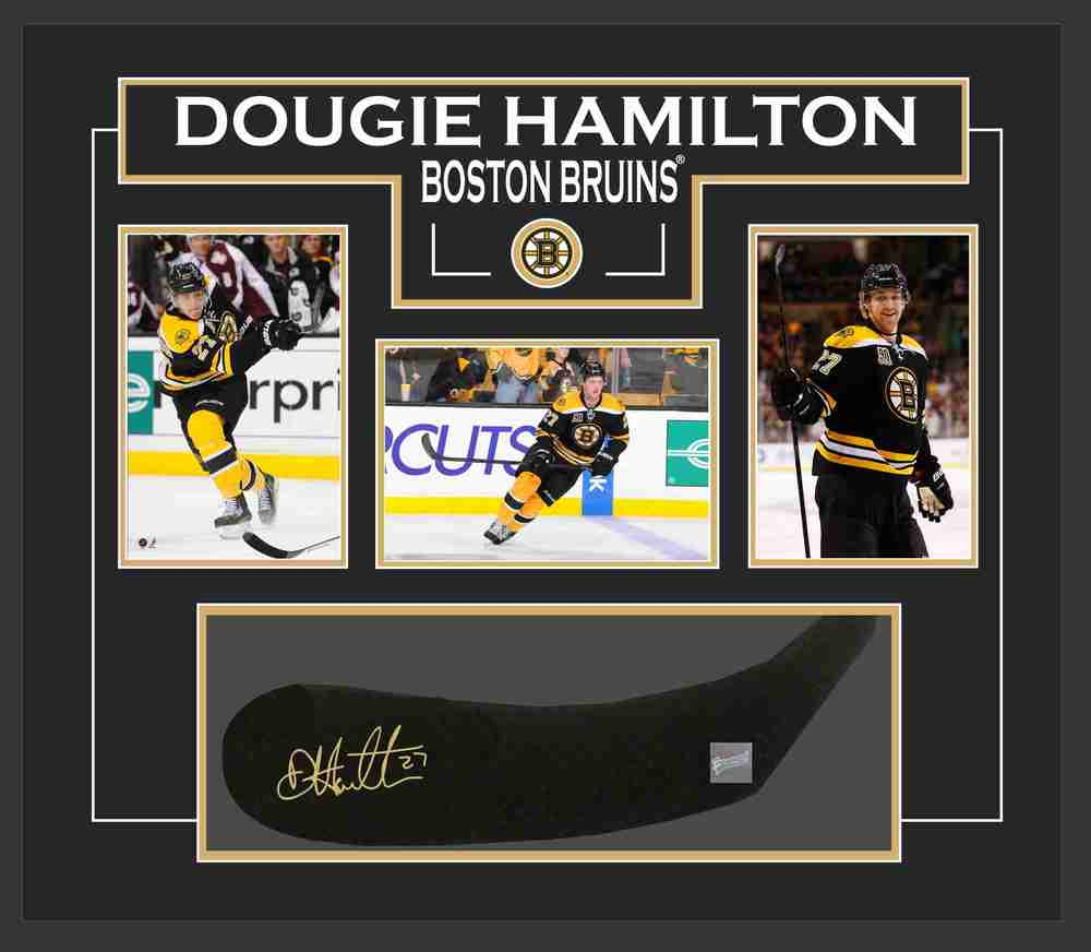 Dougie Hamilton - Signed & Framed Stick Blade - Featuring Boston Bruins Photo Collection