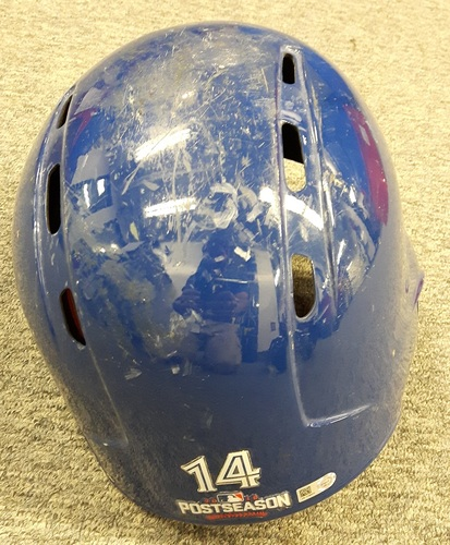 Photo of Authenticated Game Used Postseason Helmet - #14 Justin Smoak. Used October 4, 2016 - AL Wild Card Game, October 17, 2016 - ALCS Games 3. Size 7 3/8.