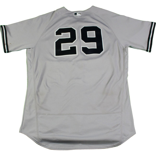 Photo of Todd Frazier New York Yankees Game-Used #29 Grey Jersey (8/24/2017). Jersey Size - 48