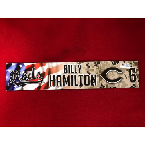 Photo of Billy Hamilton - Game-Used - Military Appreciation Locker Tag (2018)