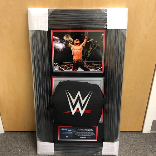 Photo of AJ Styles SIGNED SmackDown Photo & Used Turnbuckle Commemorative Plaque (#2 of 10)