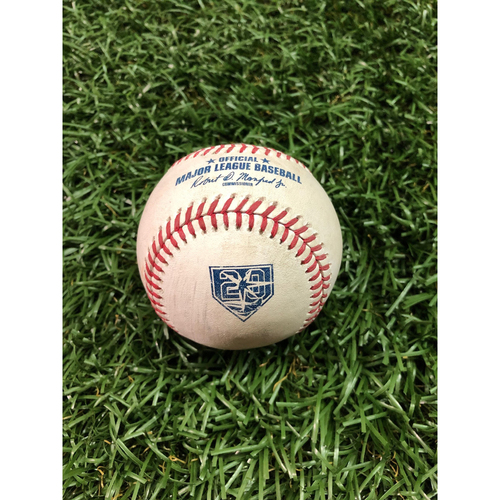 Photo of 20th Anniversary Game-Used Baseball: Edwin Encarnacion single off Tyler Glasnow - September 11, 2018 v CLE