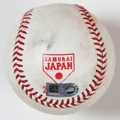 Photo of 2018 Japan Series Game-Used Baseball - Batter: Whit Merrifield, Pitcher: Shinsaburo Tawata - Single, Top 5th