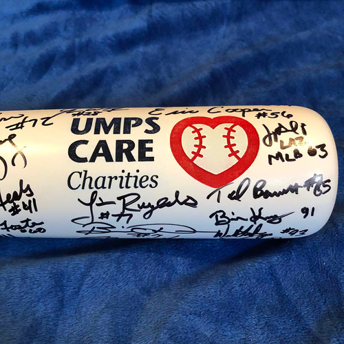 Photo of UMPS CARE AUCTION: 2019 White Rezbat UMPS CARE Charities Umpire Signed Bat