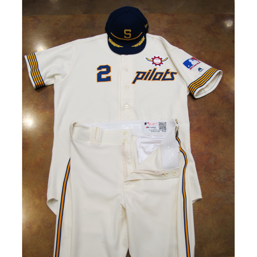 Photo of Seattle Mariners Game Used 1969 Pilots Home Uniform and Cap Turn Back The Clock (6/22/19): Tom Murphy