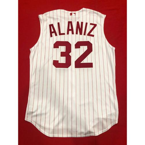 Photo of R.J. Alaniz -- Game-Used 1995 Throwback Jersey & Pants -- D-backs vs. Reds on Sept. 8, 2019 -- Jersey Size 48 / Pants Size 35-42-36