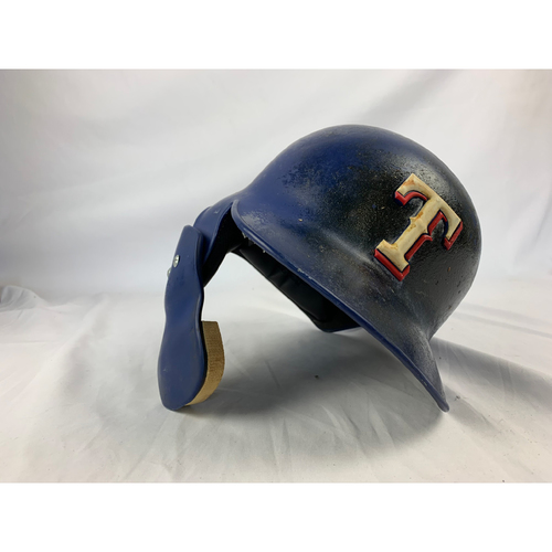 Photo of Game-Used Blue Helmet - Willie Calhoun - 9/26/2017 Astros at Rangers - Rookie Season