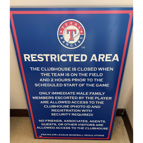 Photo of *PICK-UP ONLY* MLB Restricted Access Sign Displayed at Entrance to Texas Rangers Home Clubhouse at Globe Life Park