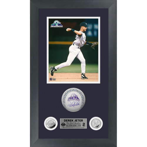 Photo of Derek Jeter Autographed 1998 All Star Game Logo Baseball Shadow Box Frame