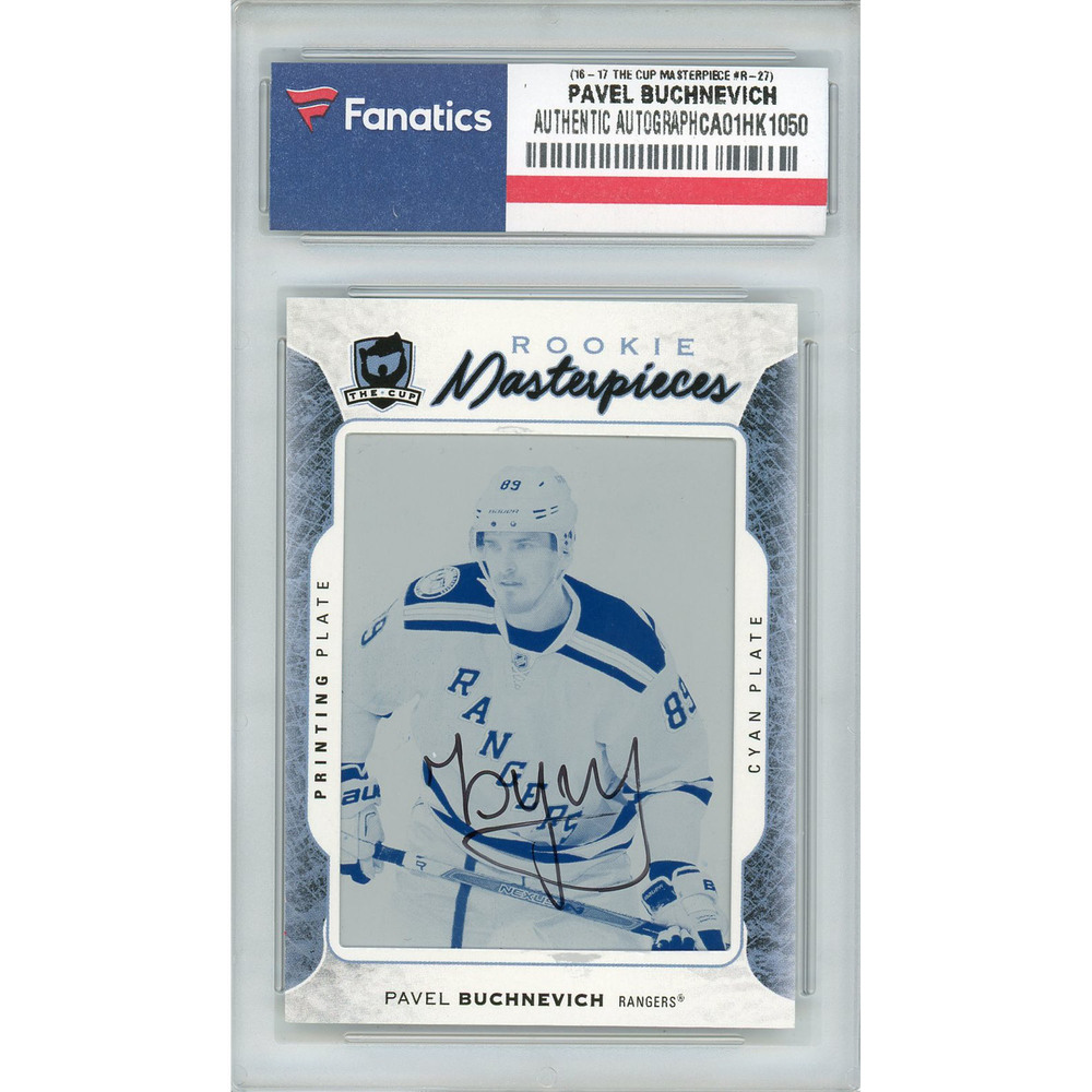 Pavel Buchnevich New York Rangers Autographed 2016-17 Upper Deck The Cup Rookie Masterpieces #PREM-R-237 Cyan Printing Plate Card - LE of 1