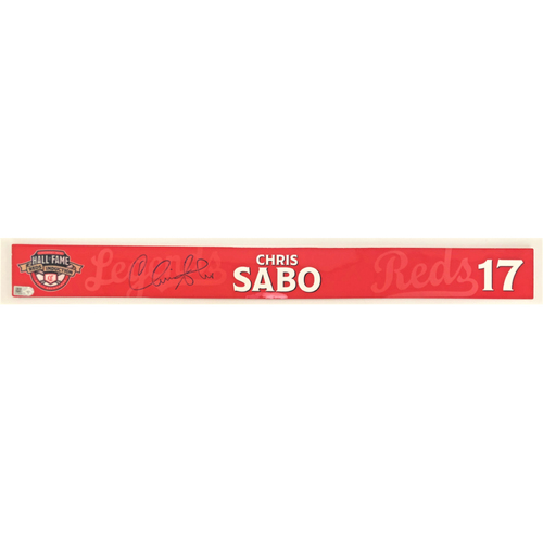 Photo of Chris Sabo - Game-used and Autographed Locker Name Plate: 2021 Cincinnati Reds Hall of Fame Legends Game