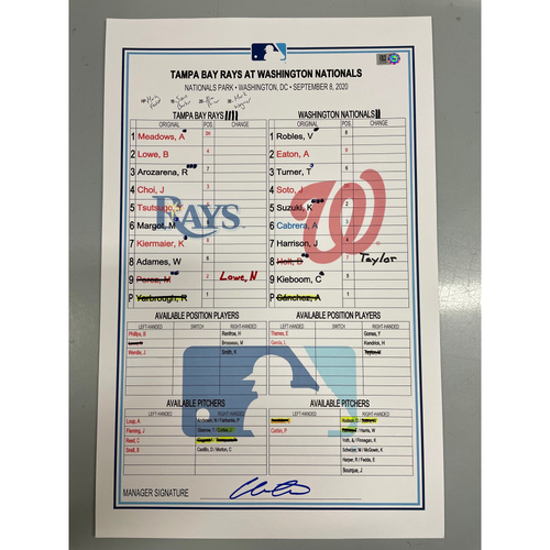 Photo of Game Used Lineup Card: Anibal Sanchez (W, 5.0IP, 6 SO) & Daniel Hudson (S, 1.0IP, 1 SO) - Kevin Kiermaier (6), Manuel Margot (9), Victor Robles (3) & Trea Turner (6) Stolen Bases - September 8, 2020 at WSH