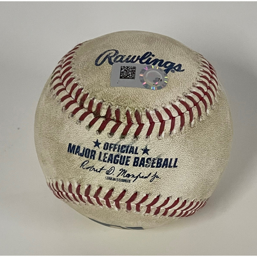 Photo of Game Used Baseball - 9/11/2021 Brewers at Indians - Lorenzo Cain Singles off Pitcher Zach Plesac  -  Milwaukee Brewers Pitchers, Corbin Burnes and Josh Hader Pitch No-Hitter vs. Indians